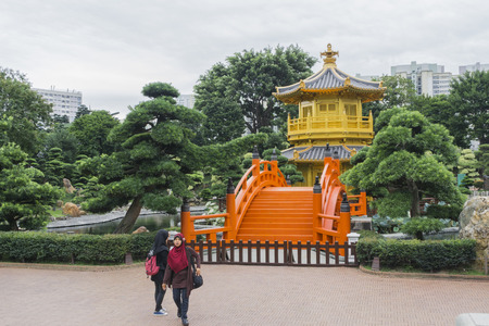 absolute: The Golden Pavilion of Perfection in Nan Lian Garden, landscaped Chinese garden of classical elegance based,Chi Lin Nunnery, Hong Kong Editorial