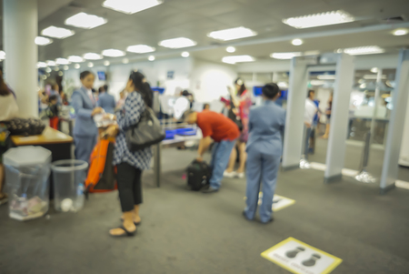 blurred  background of Security Checkpoint - Body and Luggage Scan Machine ,Security body scan- Airport Check In,vintage color 스톡 콘텐츠