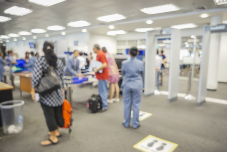 checkpoint: blurred  background of Security Checkpoint - Body and Luggage Scan Machine ,Security body scan- Airport Check In,vintage color Stock Photo