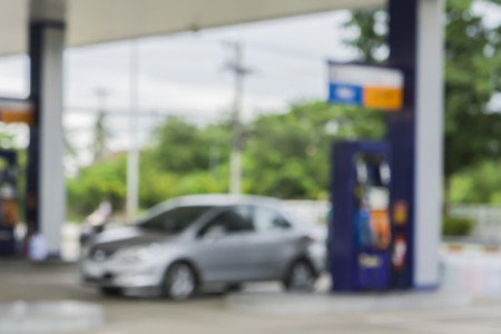 Blurred background of gas station,out of focus gas station,Gas Station And Convenience Store Archivio Fotografico