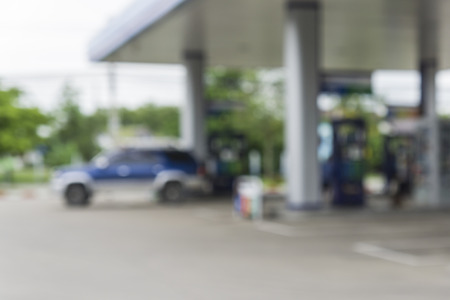 Blurred background of gas station,out of focus gas station,Gas Station And Convenience Store Imagens