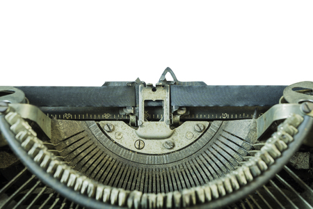 space for type: Old vintage typewriter with blank isolate background,on white background - can be used for display or type your message,Space for your text,share your story text on a paper list.