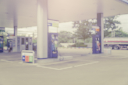 Blurred background of gas station,out of focus gas station,Gas Station And Convenience Store Standard-Bild
