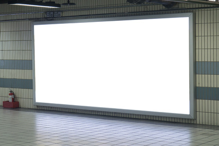 billboard advertising: Empty blank billboard at train subway station,blank billboard - advertising public commercial,ready for new advertisement,selective focus? Stock Photo