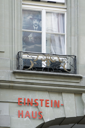 second floor: BERN, SWITZERLAND - march 28: Museum of Albert Einstein at march 28,2016 in Bern, Switzerland. The flat on the second floor of Kramgasse No. 49 was rented by Einstein from 1903 to 1905 Editorial