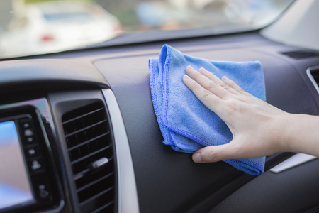 Hand With Microfiber Cloth Cleaning Car.woman Cleaning Car Interior   Car  Detailing And Valeting