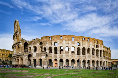 Rome, Italy,The Colosseum or Coliseum,as the Flavian Amphitheatre, is an oval amphitheatre in the centre of the city . Built of concrete,sand,it is the largest amphitheatre
