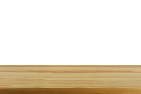 Empty top of wooden table or counter isolated on white background. montage for product display Stock Photo