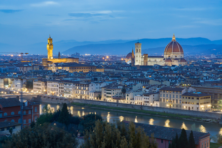 After sunset view of Cathedral Santa Maria del Fiore. Florence, Italy,in twilight.selective focus