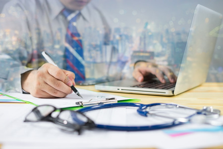 double exposure Male Doctor with files and stethoscope on hospital corridor holding clipboard and writing prescription with pen,Nurse use exam Health care and medical concept,test results,vintage