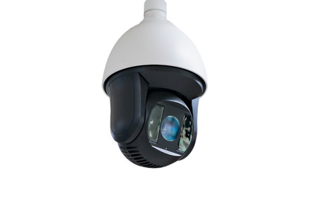 Closed-circuit television,CCTV Camera Operating inside a airport and train station or department store,use video ransmit a signal to a specific place,on white background with clipping path. Stock Photo