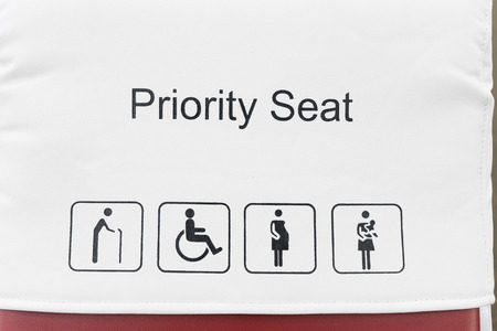inform information: Priority seats in airport.selective focus.