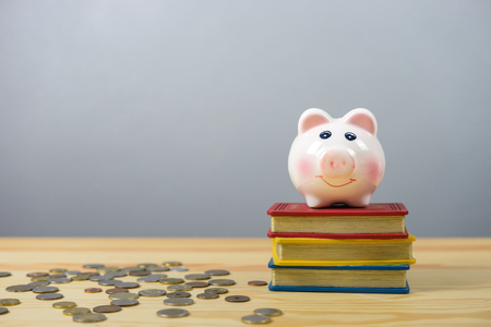 financial reward: Piggy bank save coin on book stack wooden  desk table on a gray  background, saving money finance concept,selective focus, with copy space Stock Photo