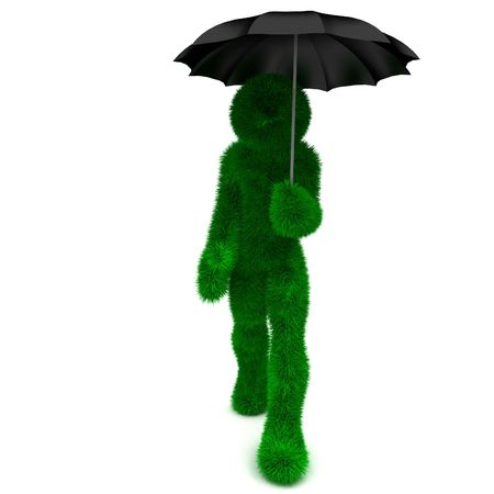 3D man holds an umbrella isolated on white. photo