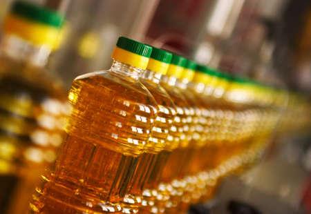 Sunflower oil in plastic bottles in the plant