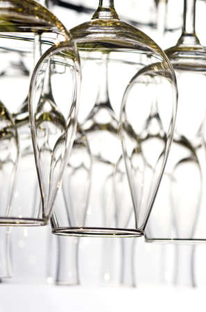 Lots of wine glasses on the white