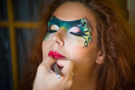 faceart: Beautiful fantasy eye face-art  portrait of a beautiful  woman Stock Photo