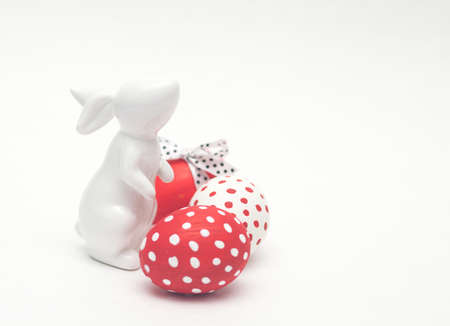 easter porcelain bunny with colorful eggs