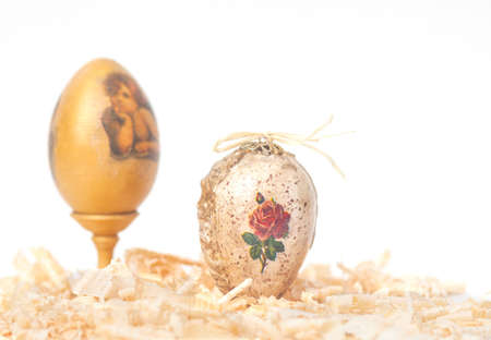 easter eggs made decoupage methods on sawdust Stock Photo