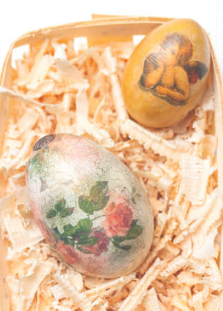 easter eggs made decoupage methods on sawdust photo