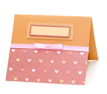 homemade card with label for text
