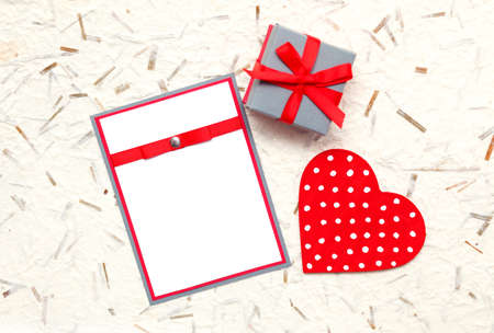 homemade card with label for text and bonbonniere