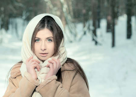 Portrait of a beautiful girl on winter park Stock Photo