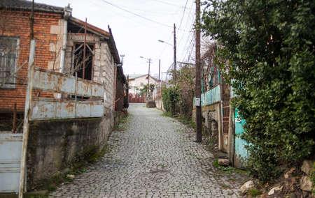 kutaisi: old street with houses and stone road. Kutaisi, Georgia. Stock Photo