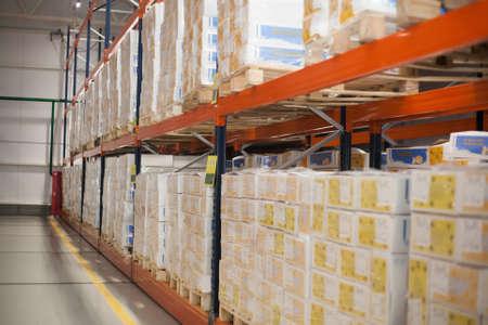 SHUCHIN, BELARUS - JANUARY 26 2015. cargo boxes storing at warehouse shelves Editorial