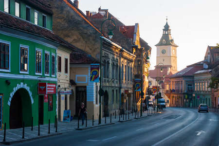 BRASOV, TRANSYLVANIA - AUGUST 22 2010. Panoramic view of the old town center