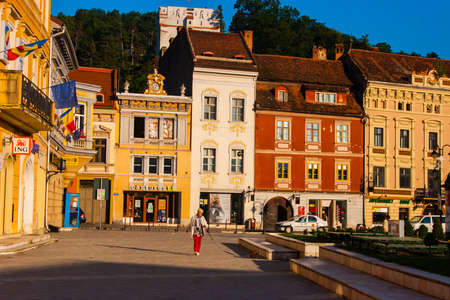 BRASOV, TRANSYLVANIA - AUGUST 22 2010. Panoramic view of the old town center.