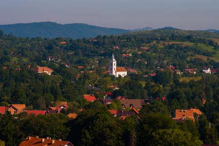 rural landscape with houses in Transylvania, Romania. Foto de archivo