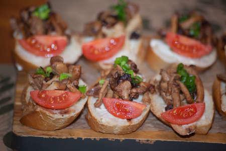 Italian antipasti wine snacks set. Brushettas variety. Stock Photo