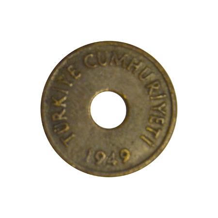 kuru: 1 Turkish Kurus 1949 Head Stock Photo