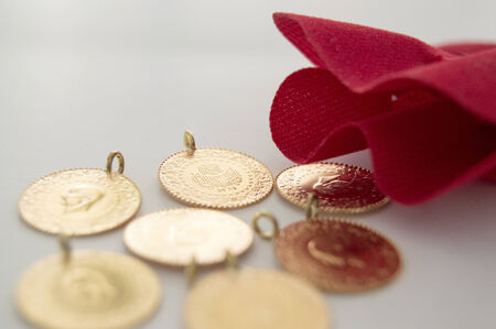 Gold and Red Pouch