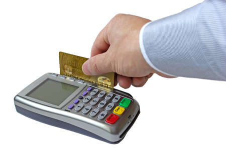 Payment for the goods by credit card through the payment terminal Stock Photo - 17731082