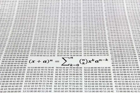 theorem: binomial theorem against the hex codes printed on paper Stock Photo