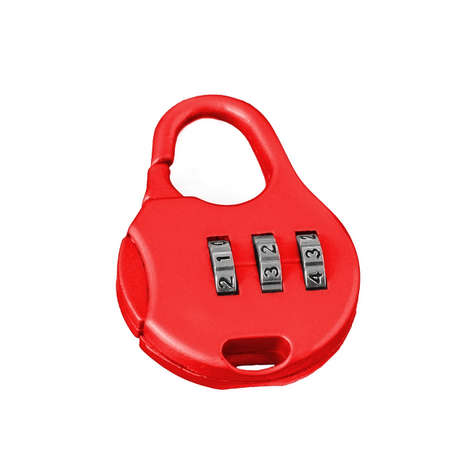 combination: red combination lock on a white background isolated