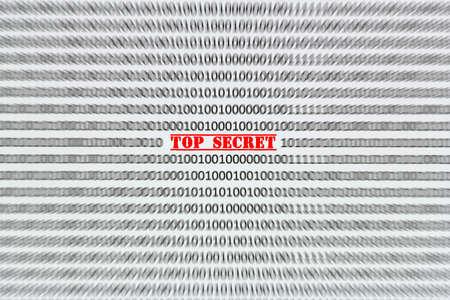 secret code: top secret inscription on the background of motion blur binary code