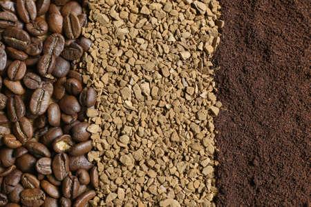 Tre tipi di caffè in forma di strisce: chicchi di caffè, caffè macinato, caffè solubile
