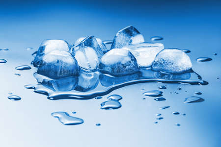melting ice cubes on a homogeneous background tinted in blue