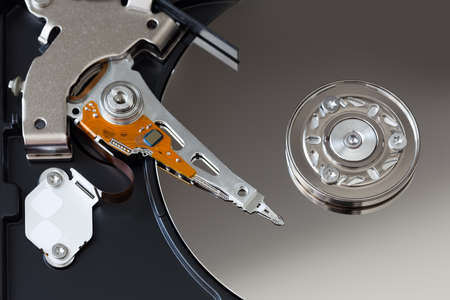 Open hard disk of a computer close-up Stock Photo