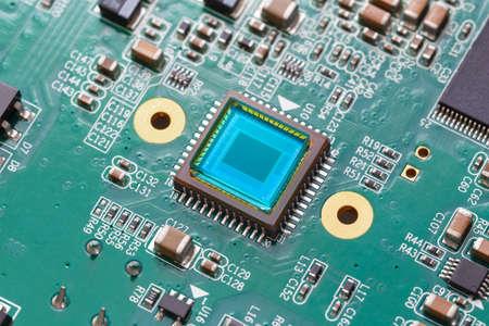 photosensitive sensor on a printed circuit board closeup