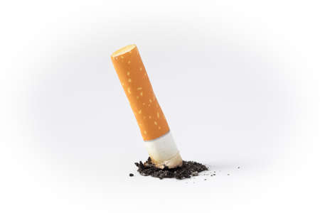 cigarette butt on a white background closeup isolated