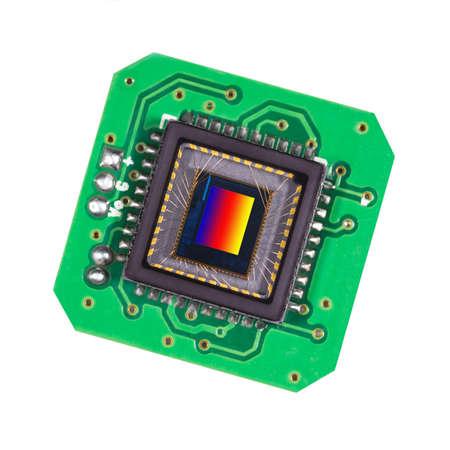 Photosensitive sensor on a printed circuit board closeup. Modern technology, video, photography.