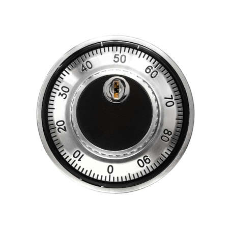 Steel combination lock, closeup. On a white background isolated