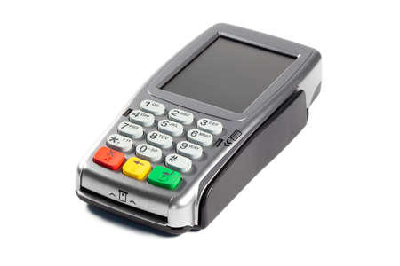 Modern payment terminal on a white background closeup, isolated