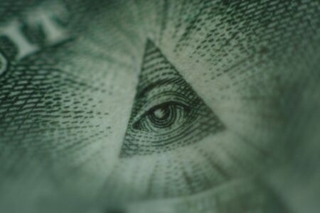 All seeing eye from the back of US dollar bill.