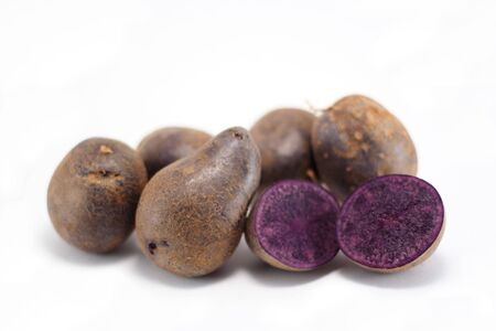 A group of Peruvian blue potatoes.