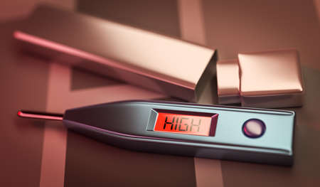 high temperature: a thermometer showing  high temperature Stock Photo